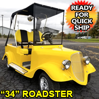'34 Old Roadster Car 48v Custom Club Car Golf Cart - YELLOW