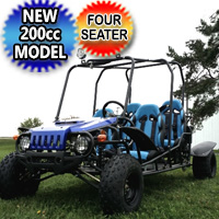 200cc Go Kart 4 Seater Extended Wrangler Go Kart - 4 FUN 200