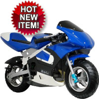 MotoTec 33cc 2-Stroke Gas Pocket Bike - Blue