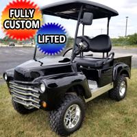 Black Custom 47' Old Truck Gas Golf Cart Club Car Precedent With Lift Kit & Custom Rims, Radio & Street Legal Package