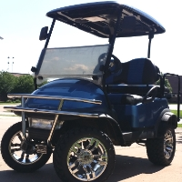 Club Car Precedent Lifted Gas Golf Cart with Black/Blue Seats