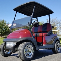 48V Electric Dark Maroon Club Car Precedent Golf Cart w/ Chrome Rims & Turf Tires