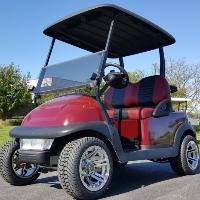 48V Electric Dark Maroon Club Car Precedent Golf Cart w/ Chrome Rims & Turf Tires