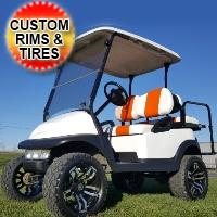 White 48v Electric Club Car Precedent Golf Cart With Custom Rims & Tires