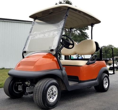 48V Orange Electric Club Car Precedent Golf Cart W Rear Flip Seat