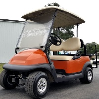 48V Orange Electric Club Car Precedent Electric Golf Cart w/ Rear Flip Seat
