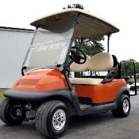 48V Orange Electric Club Car Precedent Electric Golf Cart w/ Rear Flip Seat