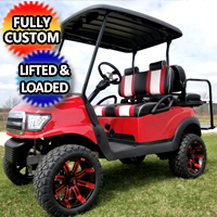 48v Electric Golf Cart Red Alpha Body Club Car Precedent With Custom Seats Rims/Tires Radio & LED Lights