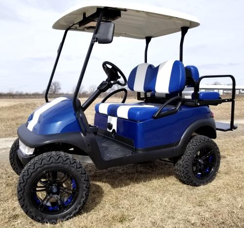 48v Electric Blue Golf Cart Club Car Precedent W Custom Rims Rear Flip Seat Radio