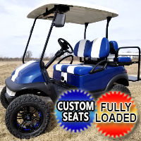 48v Electric Blue Golf Cart Club Car Precedent W/ Custom Rims, Rear Flip Seat & Radio