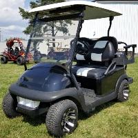 48V Black Custom Golf Cart Electric Club Car Precedent w/ Genesis 250 Rear Flip with Cooler & Rear Storage