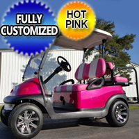 48v Electric Hot Pink Club Car Precedent Golf Cart Fully Customized
