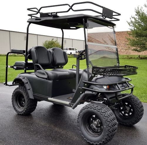 48v Electric EZ-GO TXT Black Hunter Edition Golf Cart on beach buggy cart, grey fifth wheel, car cart,