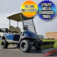 "48V Club Car Precedent Golf Cart 6"" Lift Kit With Custom Knobby Tires & Rear Dump Bed W/Plow"