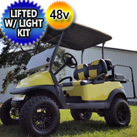 48V Super Bee Lifted Electric Golf Cart With Custom Seats and Light Kit