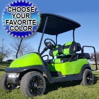 Lime Green 48v Electric Golf Cart With Custom Rims And Street Legal Light Package