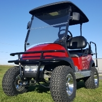 48v Maroon Lifted Electric Golf Cart With Brush Guard, Rear Flip Seat & Street Legal Light Package