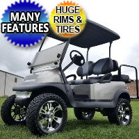 48 Volt Custom Silver Pewter Golf Club Car Precedent Golf Cart With SS Wheels, Lights, Radio, Rear Flip