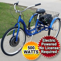 "500 Watt Electric Powered Tricycle Motorized Trike 26"" Adult Size 3 Wheel Trike Scooter Bicycle"