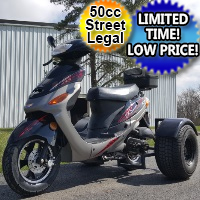 Brand New 50cc Boom Trike Scooter