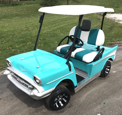 '57 Old Car Custom 48v Bel Air Club Car Golf Cart Club Car Golf Cart Battery Watering System on club car golf cart roof, golf cart battery water system, club car golf cart maintenance, club car single point watering system,
