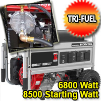 6800 Watt - 8500 Starting Watt Tri Fuel Generator - Electric Start w/ Charger