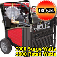 7000 Surge Watts - 5500 Rated Watts Tri Fuel Portable Inverter Generator - Electric Start w/ Charger