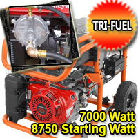 7000 Watt - 8750 Starting Watt Tri Fuel Generator - Electric Start w/ Charger