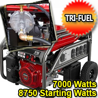 7000 Running Watt - 8750 Starting Watt Tri Fuel Generator - Electric Start w/ Charger