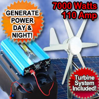 Solar Power Generator 7000 Watt 110 Amp With Wind Turbine System