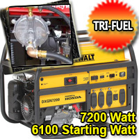 7200 Watt - 6100 Starting Watt Tri Fuel Generator With Honda GX390 Engine - Electric Start w/ Charger