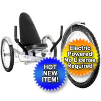 "Electric Recumbent Trike Tricycle Ultimate 850 Watt Three Wheeled 20"" Electric Powered Recumbent Trike Cruiser"