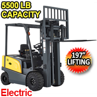 """4-wheel Electric Forklift 5500lbs Cap. 197"""" Lifting - A-4001"""