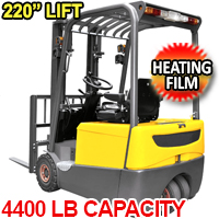 """3 Wheels Lithium-ion Battery Forklift with Heating Film 4400lbs Cap. 220"""" Lifting - A-4003"""