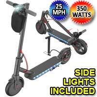 Mee-Go 350W Electric Folding & Portable Scooter w/Side Lights - A11E