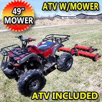 "125cc Atv With Mower Lawn Muncher - Old Fashioned 49"" Cut Width"