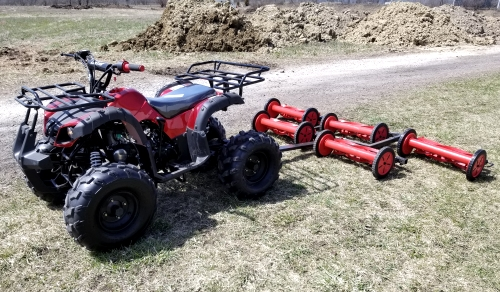 125cc atv with mower 5 gang unit lawn muncher old fashioned 82 cut width. Black Bedroom Furniture Sets. Home Design Ideas
