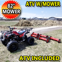 "125cc Atv With Mower 5 Gang Unit Lawn Muncher - Old Fashioned 82"" Cut Width"
