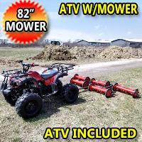 "125cc Atv With Mower 5 Gang Unit Lawn Muncher - Old Fashioned 82"" Cut Width"
