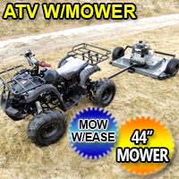 "125cc ATV with Mower Lawn Muncher w/ Large 19"" Tires and 44"" Wide Deck 10.5 HP Trail Mower"