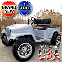 Four Seater Gas Golf Cart Full Size Jeep - Americana Edition Fully Loaded