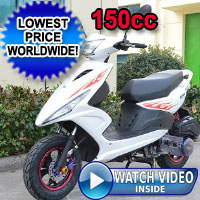 150cc Spiral Boom 4 Stroke T-6 Moped Scooter