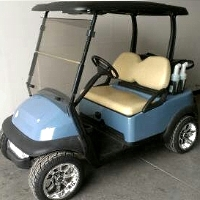 Baby Blue 48v Electric Club Car Precedent Golf Cart w/ Custom Rims & Tires