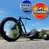 New Gas Powered Drift Trike Black Bandit Fat Ryder Tire 6.5 HP Motorized Big Wheel