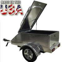 "Motorcycle/Car Pull Behind Trailer 60"" X 28"" X 19"" Aluminum Diamond Plate Enclosed Motorcycle / Car Trailer"