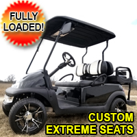 48V Black Electric Club Car Precedent Golf Cart with Custom Rims and Custom Extreme Seats