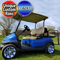 48V Electric BLUE Demon Club Car Precedent Golf Cart With Lights Custom Rims & Flip Seat