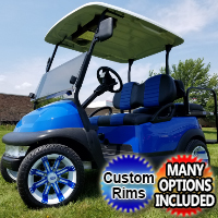 48v Electric Club Car Precedent Golf Cart Blue Demon Loaded Edition with Custom Rims Lights Seats Radio & More