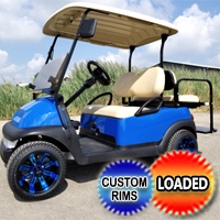 48V Blue Spider Club Car Precedent Golf Cart With Custom Rims & Flip Seat
