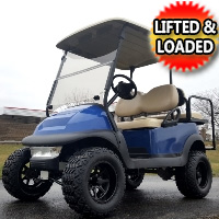 48V Lifted Electric Golf Cart Club Car Precedent Blue Mud Monster With Rear Flip Seat & Light Kit